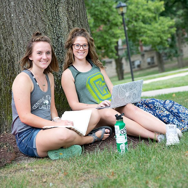 Students studying on the CMU campuas